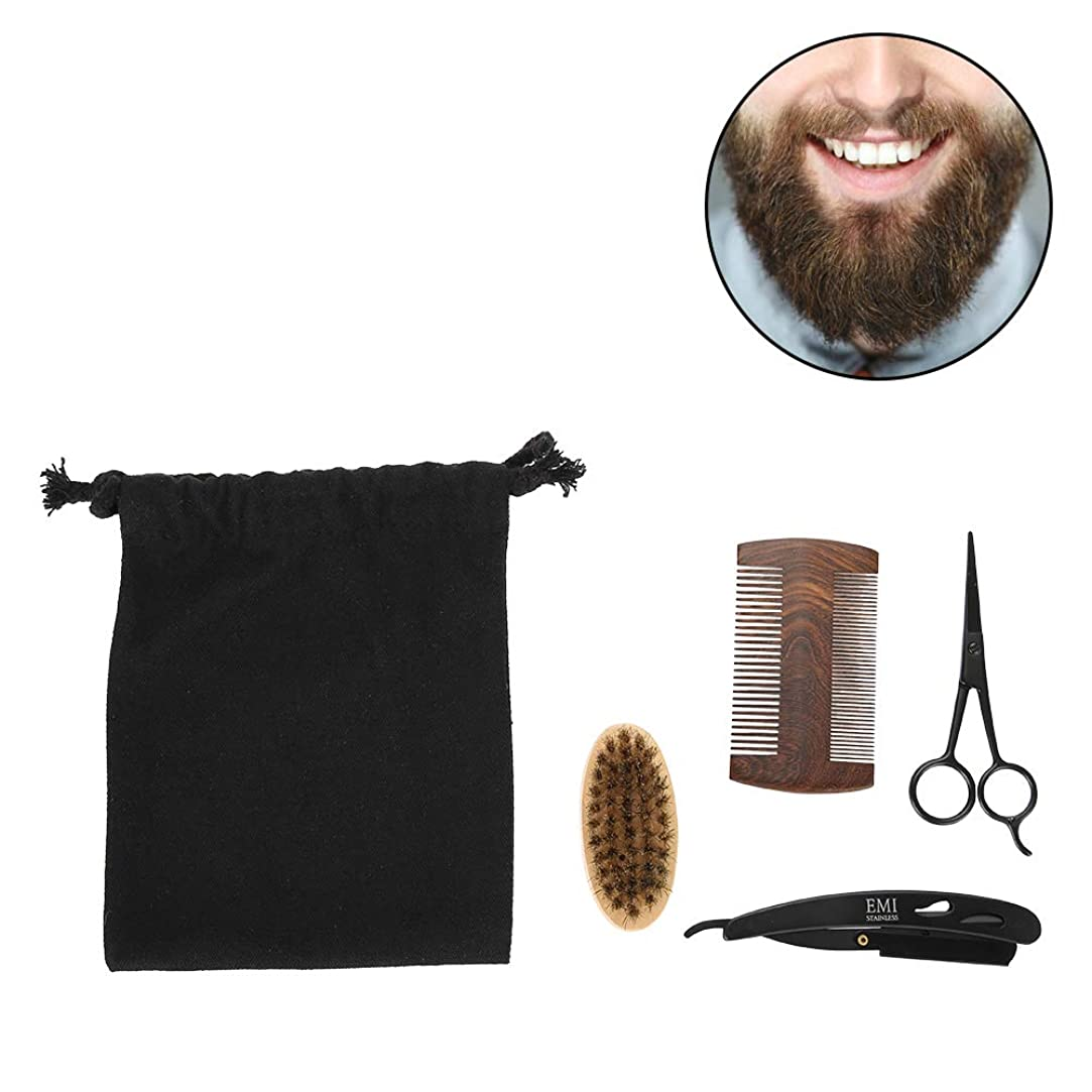 会計士飛ぶその他男性のためのSemmeひげグルーミングキット、ひげブラシセット、ひげケアセットスタイル男性のくしブラシはさみキットモデリングクリーニング修理セットとキャンバスバッグ