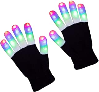 ZPTONE LED Gloves Finger Lights 3 Colors 6 Modes Flashing Rave Gloves Halloween Costume Party Favors Light Up Toys Novelty For Kids(Size 7in)Age for 4 5 6 7 8 9 10 Boys Girls