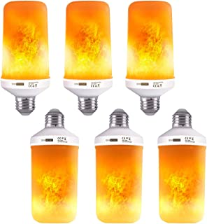VIVOHOME 6W LED Flame Effect Light Bulbs, E26 Standard Base, 4 Modes Flickering Fire Light Bulbs for Festival Party Hotel Decoration, Pack of 6