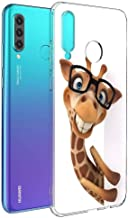 Pnakqil Funda Huawei P30 Lite Transparente Dibujos Silicona Carcasa Ultrafina Suave Gel TPU Piel Antigolpes Protectora Bumper Case Cover Compatible con Teléfono HuaweiP30Lite, Jirafa