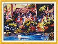 クロスステッチ刺繍キット 図柄印刷 初心者 ホームの装飾 刺繍糸 針 布 11CT Cross Stitch ホームの装飾 美しい妖精小屋 40x50cm