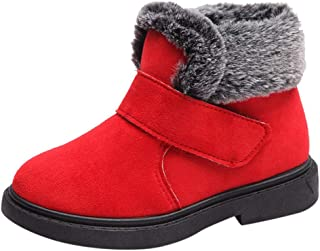 OldloverKids Boys Girls Boots Winter Snow Ankle Booties Classic and Waterproof Hiking Outdoor Fur Lining Short Boots