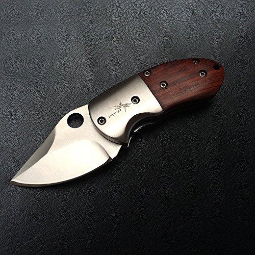 Shootey Messer Klein Mini Klappmesser Holzgriff Taschenmesser Einhandmesser Folder Messer Knife, Klinge 5 cm