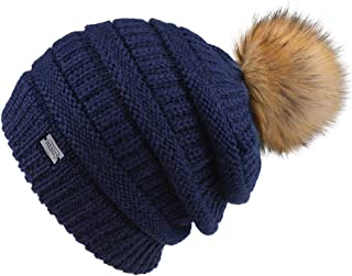 FURTALK Womens Slouchy Winter Knit Beanie Hats Chunky Hat Bobble Hat Ski Cap (One Size, Yarn Navy)