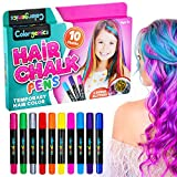 Colorgenics Hair Chalk for Girls, Temporary Hair Chalk for Kids, 10 Color Hair Chalk Pens & Glitters, Non-Toxic Washable...
