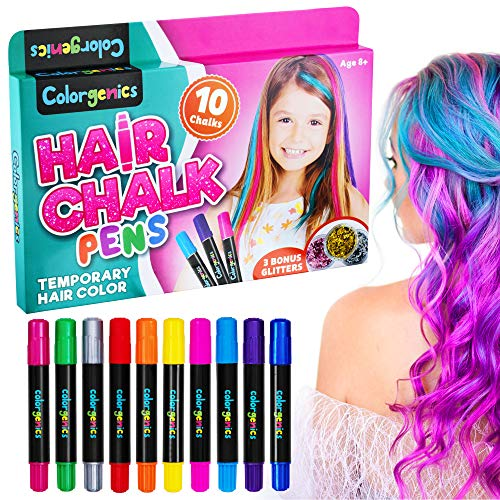Colorgenics Hair Chalk for Girls, Temporary Hair Chalk for Kids, 10 Color Hair Chalk Pens & Glitters, Non-Toxic Washable Temporary Hair Color for Kids, Hair Dye for Kids, Birthday Gifts for Girls