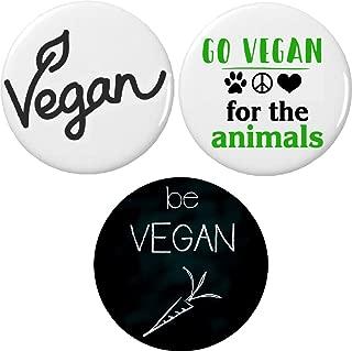 Set 3 Go Vegan Pinback Buttons Pins Veganism Green Healthy