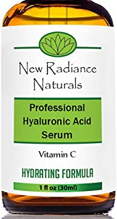 New Radiance Naturals -Anti-Aging Natural & Organic Hyaluronic Acid Serum With Vitamin C+ E + MSM + Organic Aloe For Looking Younger Restoring Hydration, Increasing Elasticity & Smoothing Skin on Face