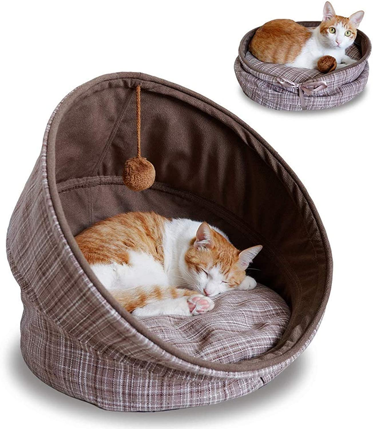 KYCD pet bed Pet Bed,Washable Folding Cat Sleeping Bags Round Pet Nest for Cats and Small Dogs with Soft Cushion Hanging Bell Toy Ball, Gift for Christmas New Year, Brown (18 inch)