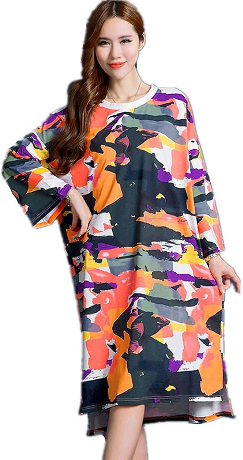 DMMSS Ladies Sleeping Pants Camouflage Pajamas Long Sleeve Cotton Loose Out Wear Home Dress In Long Skirt