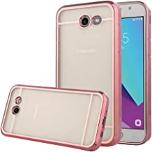 TabPow Galaxy J3 Emerge Case, Transparent Clear Slim Scratch Resistant Protective Cover with Luxury Bling Frame for Samsung Galaxy J3 Prime/Galaxy J3 Emerge/Amp Prime 2 - Rose Gold Clear
