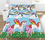 Style It Up New Unicorn Kids Girls Duvet Quilt Cover Bedding set Rainbow Horse Magic Pony UK (Double, Rainbow)