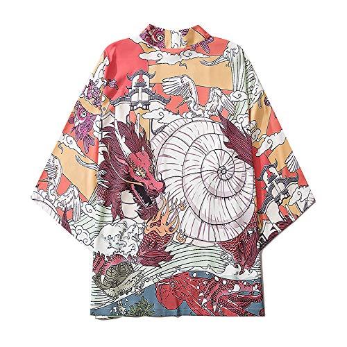 HENGX Mujer Japonés Kimono Chaqueta,Nuevo Kimono Moda Japonesa Albornoz Capa con Estampado Color Dibujos Animados Dragón Chino Chaqueta Talla Grande Interior para Hombres Y Mujeres,Multicolour-M