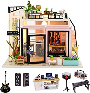 Spilay DIY Miniature Dollhouse Wooden Furniture Kit,Handmade Mini Modern Model Plus with Dust Cover & Music Box ,1:24 Scal...