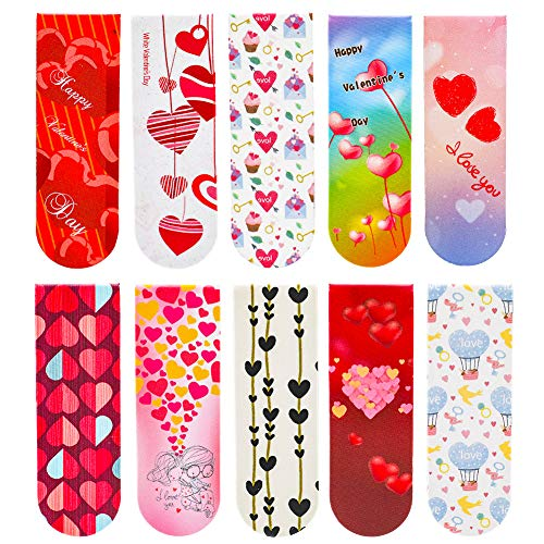 50 Pieces Valentine's Day Magnetic Bookmark Cute Magnetic Page Bookmark for School Prizes and Valentine's Party Favors for Kids