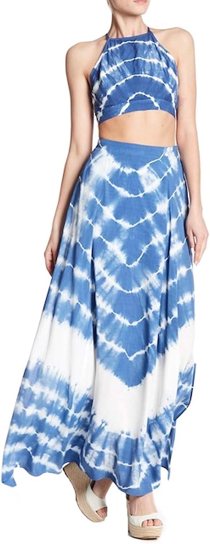 Aakaa Womens Tie Dye Two Piece Dress bluee White Medium, Large