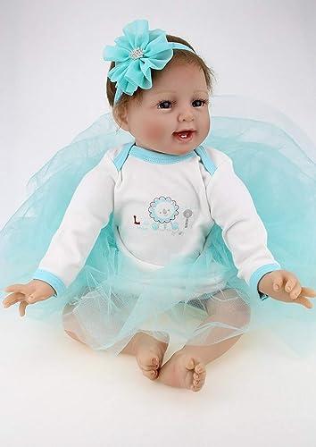 HOOMAI Simulation 22 Zoll 55cm Silikon Vinyl Günstig Reborn Babypuppe Kinder mädchen Magnetismus Spielzeug Blaue Prinzessin Kleid Zubeh Geschenke