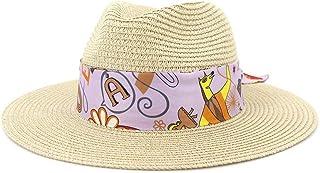 SHENTIANWEI Summer Women Straw Sun Hat Wide Brim Outdoor UV Beach Hat Fedora Hat Lady Hat