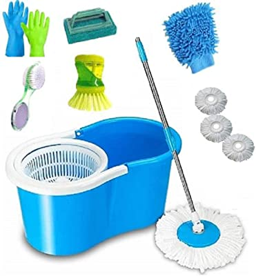 SHIVONIC Advance Combo Classic Magic Cleaning Spin Bucket Mop Set with 1 Tile,1foot Brush,1 Hand Gloves, Brush, Dish Brush,scrubber3 Microfiber riffile Standard Color Blue