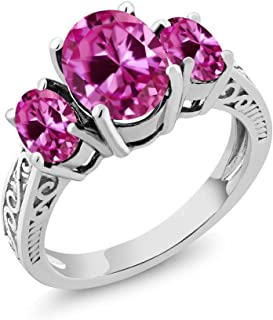 Gem Stone King 925 Sterling Silver Pink VS Created Sapphire 3-Stone Women's Ring 3.60 Ct Oval (Available 5,6,7,8,9)