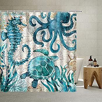 Nautical Biological Theme Shower Curtain Blue Ocean Sea Turtles Octopus Seahorse Beach Coral Reef Vintage Nautical Map Curtain Fabric Bathroom with Hooks Washable  Teal,70 X 70 Inch