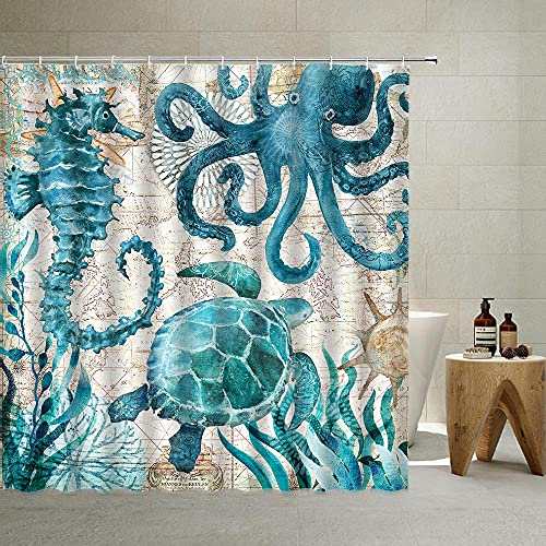 Nautical Biological Theme Shower Curtain Blue Ocean Sea Turtles Octopus Seahorse Beach Coral Reef Vintage Nautical Map Curtain Fabric Bathroom with Hooks Washable , Teal,70 X 70 Inch