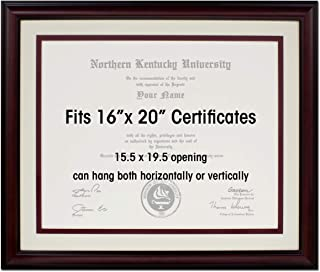 Law Degree Certificate Document License 16 x 20 Double Mat with Mahogany Frame