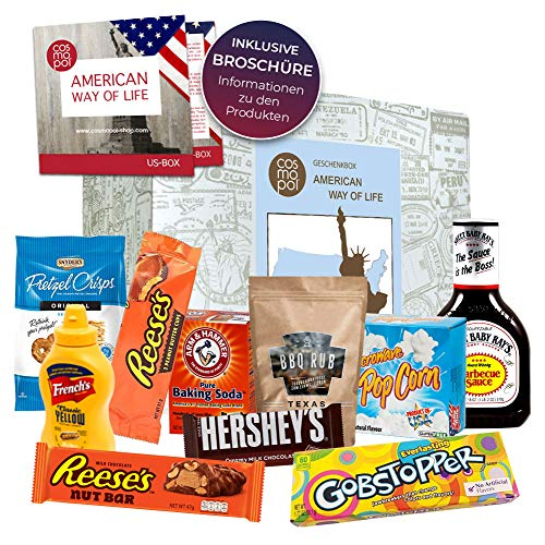 American Way of Life außergewöhnliche Geschenkbox | Geschenk für Männer Frauen | besonderes Geschenkset Amerika Süßigkeiten + BBQ | USA Box
