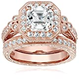 Rose-Gold-Plated Sterling Silver Antique Ring set with Asscher-Cut Swarovski Zirconia, Size 10