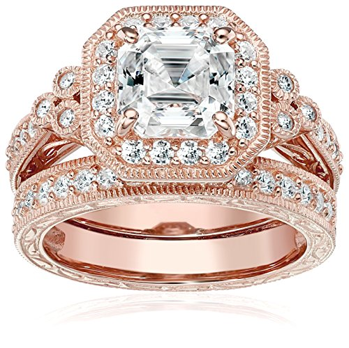 Rose-Gold-Plated Sterling Silver Antique Ring set with Asscher-Cut Swarovski Zirconia, Size 5