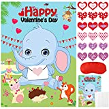 Valentines Day Games for Kids Party Favors - Pin the Heart on the Elephant, Valentines Stickers, Kids Valentine's Day Party Games, Kids Valentines Classroom School Activities Family Party Supplies