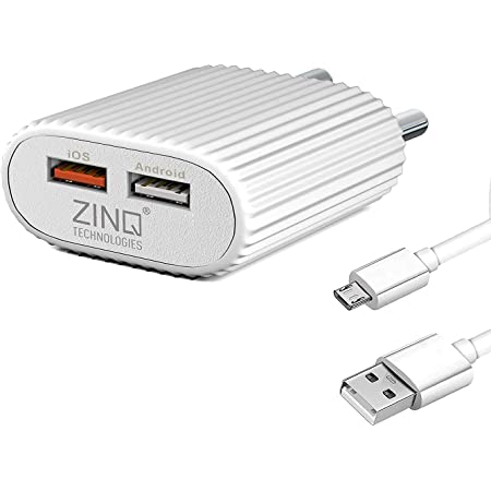 Zinq Technologies 2A Dual Port Mobile Charger for Android and iOS Devices, BIS Certified, Cable Included (White)