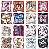 GuKKK Pañuelo de Seda Cuadrado para Mujer, 16 Piezas Bandana, Bufanda Cuadrada Paqueña Multicolor, Bufanda para la Cabeza del Cuello, Diadema, Decoración de Bolsos, Pañuelo(50x50cm)