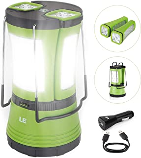 LE LED Camping Lantern Rechargeable, 600LM, Detachable Flashlight, Perfect Lantern Flashlight for Hurricane Emergency, Hiking, Fishing and More, USB Cable and Car Charger Included