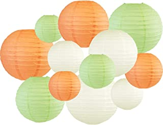 Just Artifacts Decorative Round 12pcs Assorted Paper Lanterns (Color: Peach & Mint)