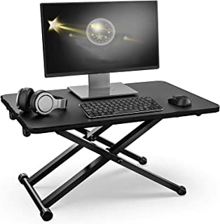 Adjustable Height Stand Steady Standing&Sitting Gas Spring Riser Desk Converter w Keyboard Mat for Health Benefits and No ...