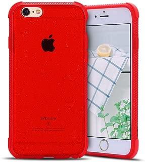 Anfire-ES Funda para iPhone 6 / 6S Plus, Silicona Case de Suave y Transparente Carcasa, Flexible Gel TPU, Ultra Ligero [Esquinas Reforzadas] Bumper Caja Claro Blando Caso Cubierta Trasero - Rojo