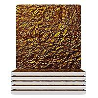 ゴールド ドアマット Gold コースター 珪藻土 コーヒーコースター 滑り止め 断熱 吸水速乾 家庭用 カップマット おしゃれ 4枚セット