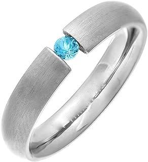 Theia 钛宫廷蓝黄玉或粉色蓝宝石张力套装石哑光 4.5 毫米戒指
