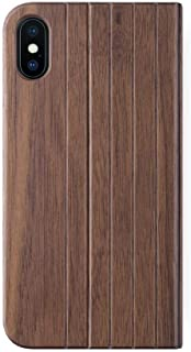 iATO iPhone Xs Max Book Type Case - Real Walnut Wood Grain Premium Protective Front & Back Cover - Unique Folio Flip Bumper Accessory for iPhone Xs Max (2018) - Supports Wireless Charging