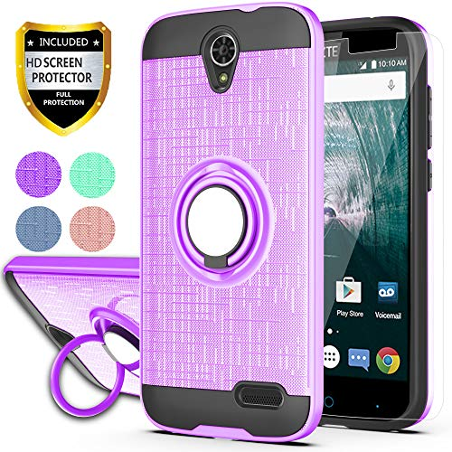 ZTE ZMAX Grand LTE/Grand X3/ZMAX Champ/Warp 7/Avid 916/Z959 Case with HD Phone Screen Protector,Ymhxcy 360 Degree Rotating Ring & Bracket Dual Layer Resistant Back Cover for ZTE N9519-ZH Purple