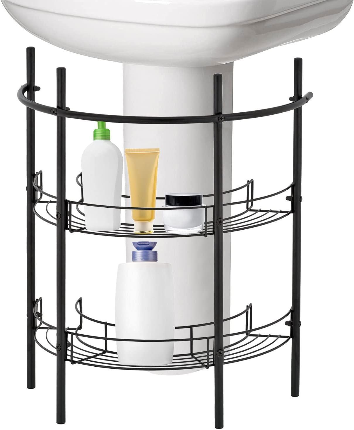 Amazon Com Mygift Under The Sink Bathroom Quality Pedestal Black Metal Storage Rack With 2 Shelves Hand Towel Bar Home Kitchen