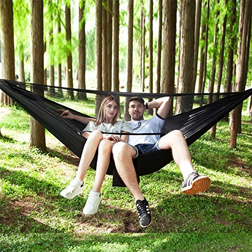 HULDORO Portable Outside Parachute Hammock with Mosquito Profits (Army Green) travel hammock (Color : Black)