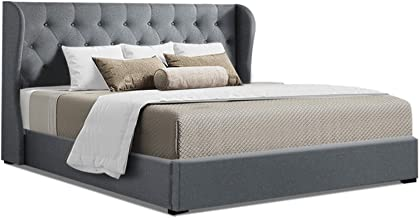 King Bed Frame, Artiss Fabric Gas Lift Bed Base, Grey