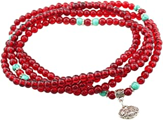 Chinese Longevity Lock Pendant 4mm Imitation Garnet Beads Wrap Bracelet E1159