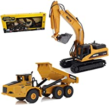 Geminismart 1/50 Scale Heavy Metal Diecast Dump Truck Excavator Engineering Vehicle Construction Toys for Kids and Decoration House (Truck & Excavator Gift Box)