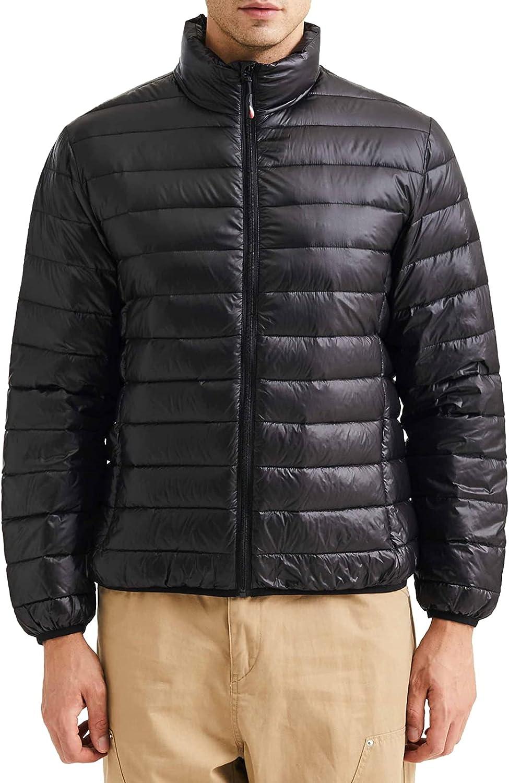 Ustyle Men's Lightweight Down Jacket Long-Sleeve Water-Resistant Packable Puffer Jacket
