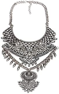 Fashion Chunky Necklace Costume Bling Silver Necklace Vintage Owl Retro Style Drag Queen Jewelry for Women 1PC with Gift Box-HL15 Silver