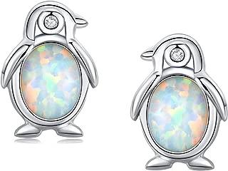 925 Sterling Silver Synthetic Opal Earrings Hypoallergenic Earrings Dainty Stud Birthday Gift for Her