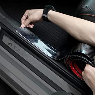 Door Entry Guards,width 1.96Inch HengJia Auto Parts carbon fiber Door Sill Entry Guards,Paint Protection Guard,before Rear Bumper Guard Scratch scratch protection strip,Arbitrary cutting (98.4Inch)